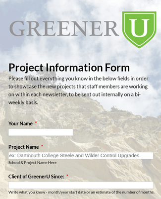 GreenerU Project Information Form 2
