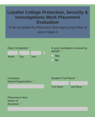 Placement Host Assessment Form