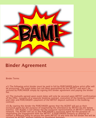 Artist Binder Agreement