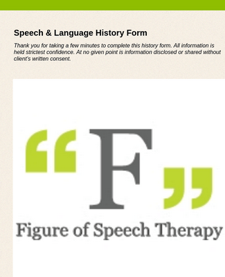Speech Language History Form