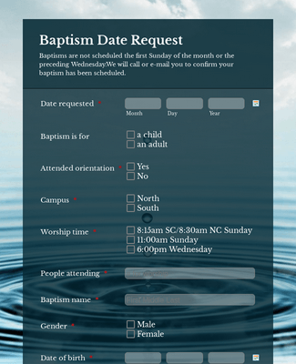 Baptism Date Request
