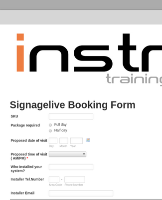 Signagelive Booking form