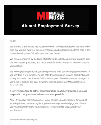 Alumni Employment Surveyclone of  2