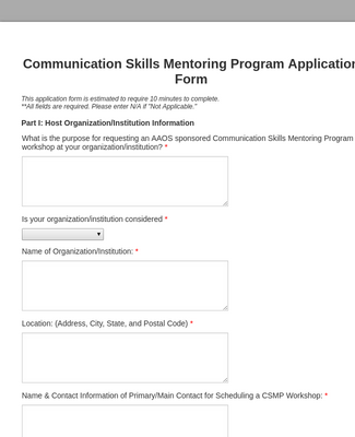 Mentoring Program Application Form