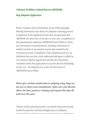 Dog Adoption Application Form