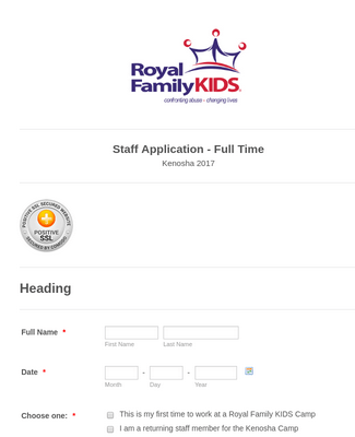 Full Time Staff Application