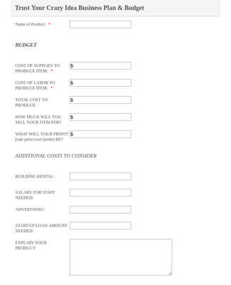 Business Plan and Budget Form