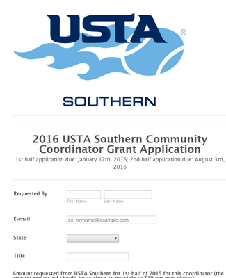 2016 USTA Southern Community Coordinator Grant Application