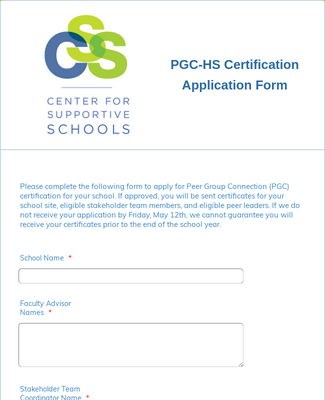 Application for PGC-HS Certification
