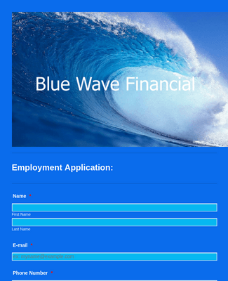 Blue Wave Financial Employment Application