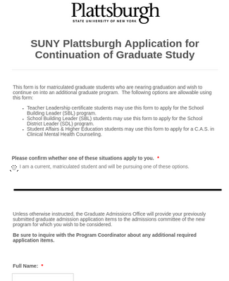 SUNY Plattsburgh Application for Continuation of Graduate Study