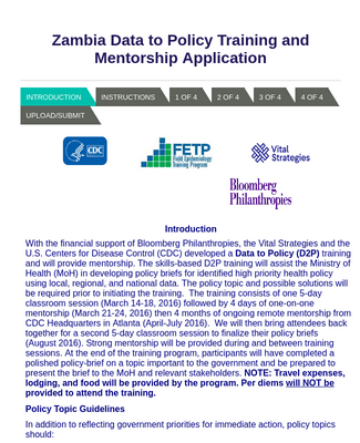 Policy Training and Mentorship Applicationdata to