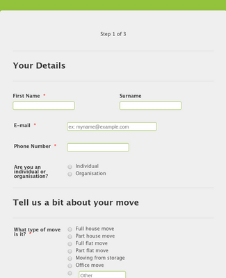 OTD Home Removals Online Quote Form