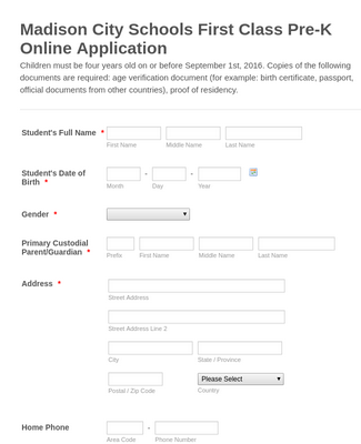 First Class Pre-K School Application Form