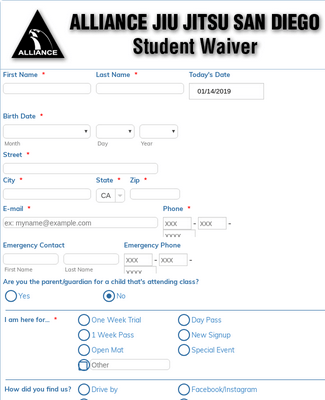 Student Waiver and Interview Form