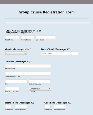 Group Cruise Registration Form