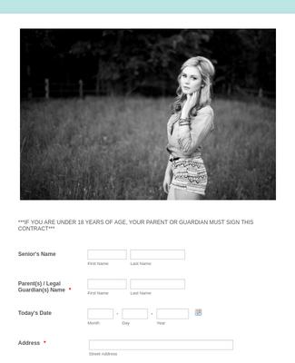 Portrait Photography Contract Form