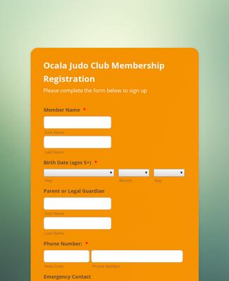 Judo Club Membership Registration Form