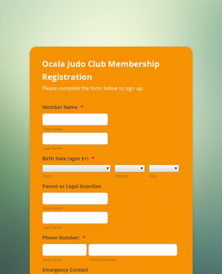 Judo Club Membership Registration Form