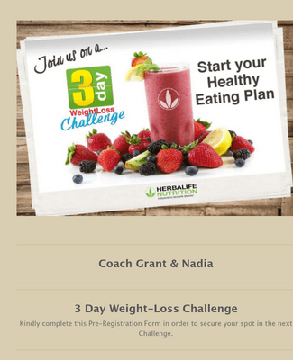 Weight Loss Challenge Registration Form3 day trial