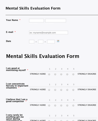 Mental Skills Evaluation Form
