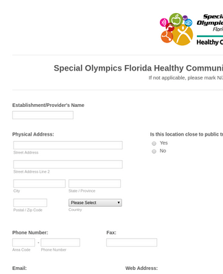 Special Olympics Form