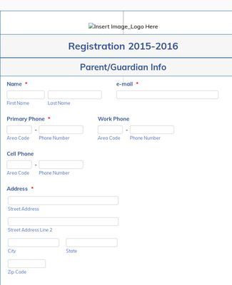 Student Registration Form for Dance Studio