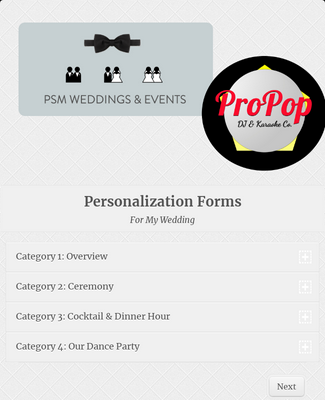Wedding DJ Planning Forms