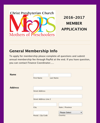 Mother's Membership Application Form