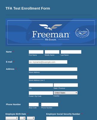 TFA Test Enrollment Form