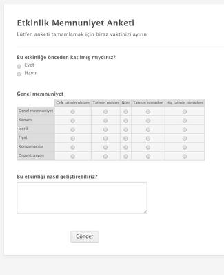 Etkinlik Memnuniyet Anketi