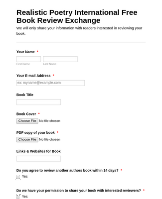 Author book review exchange registration form