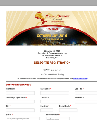 6th Annual Mining Summit Delegate Registration Form
