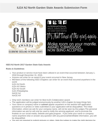 ILEA NJ North Garden State Awards Submission Form