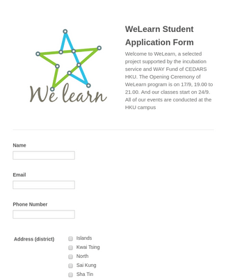 WeLearn Student Application Form