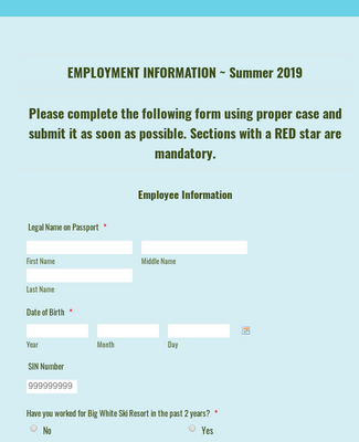 BW Employment Information