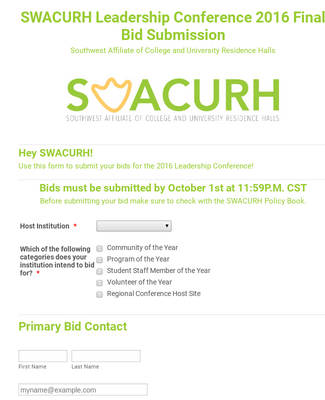 SWACURH Leadership Conference Final Bid Submission