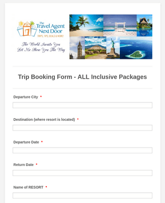 Trip Booking Form - All Inclusive Packages