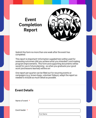 Event Completion Report Form