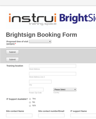 New Brightsign Booking form