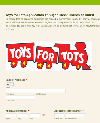 2016 Toys for Tots Application
