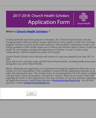 Church Health Scholars Application Form