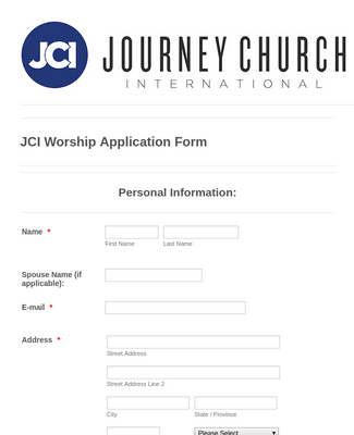 Worship Team Application Form