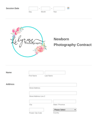 Newborn Photography Contract