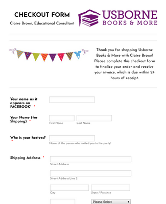 Claire Brown CHECKOUT FORM