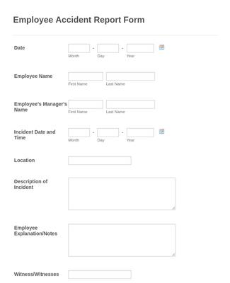 Employee Accident Report Form Template Jotform