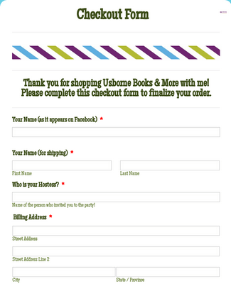 Usborne Books and More Checkout Form 4