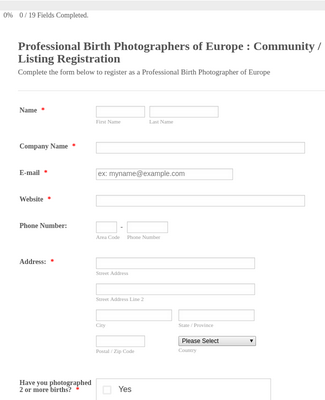 Community Registration Form