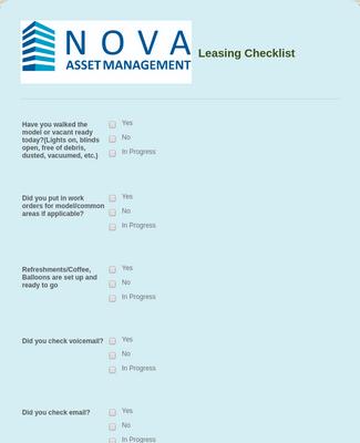 Leasing Checklist