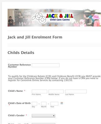 Child Care Center Enrollment Form